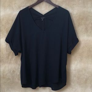 Navy blue sheer blouse